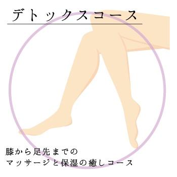 画像:膝から指先までのマッサージと保湿のデトックスコース